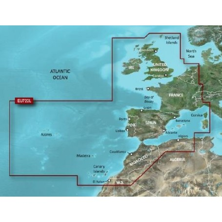 Garmin Bluechart G2 Vision Hd Veu722l Europe Atlantic Coast Sea